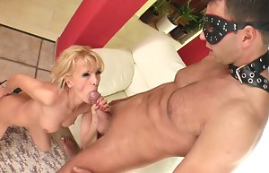 Slutty woman wearing black panties is getting drilled with her lover's thick aggregate. She is also showing her face sitting skills and swallowing his cum.